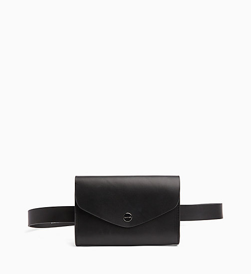 CALVIN KLEIN Leather Pouch Belt - BLACK - CALVIN KLEIN NEW IN - main image