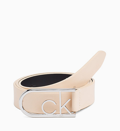 CALVIN KLEIN CK Leather Belt - LIGHT SAND - CALVIN KLEIN FOR HER - main image