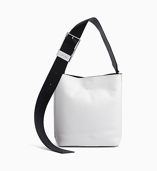 CALVIN KLEIN Leather Hobo - BRIGHT WHITE / BLACK - CALVIN KLEIN NEW IN - main image