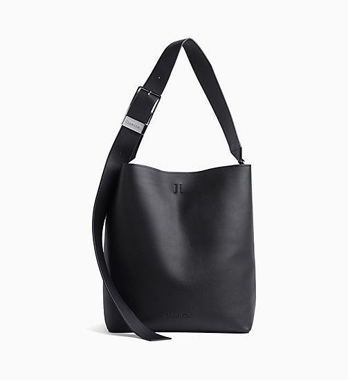 CALVIN KLEIN Large Leather Hobo - BLACK - CALVIN KLEIN HOBO BAGS - main image