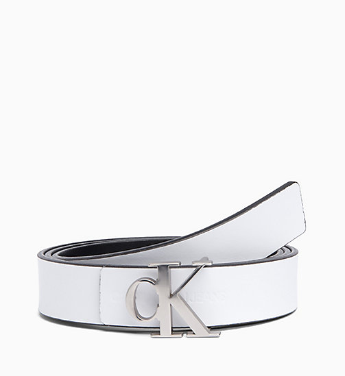CALVIN KLEIN JEANS Skinny Reversible Leather Belt - BLACK / WHITE - CALVIN KLEIN JEANS VALENTINES - detail image 1