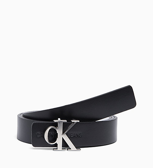 CALVIN KLEIN JEANS Skinny Reversible Leather Belt - BLACK/WHITE - CALVIN KLEIN JEANS NEW IN - main image