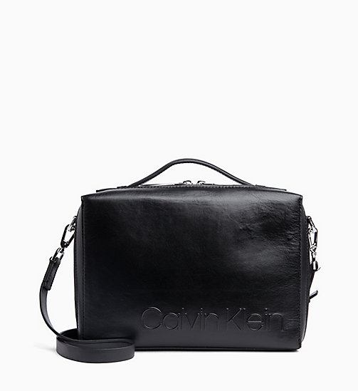 CALVIN KLEIN Leather Cube Cross Body Bag - BLACK - CALVIN KLEIN NEW IN - main image