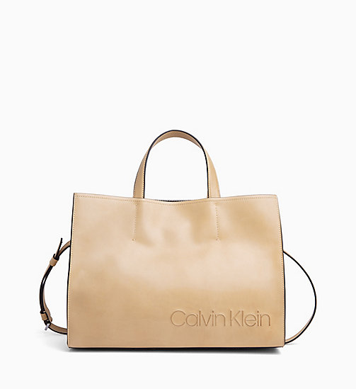 CALVIN KLEIN Leather Tote Bag - LIGHT SAND - CALVIN KLEIN NEW IN - main image