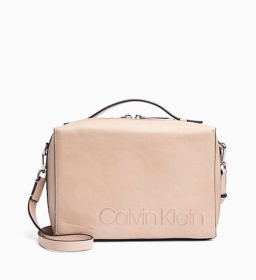 CALVIN KLEIN Leather Cube Cross Body Bag - LIGHT SAND - CALVIN KLEIN NEW IN - main image
