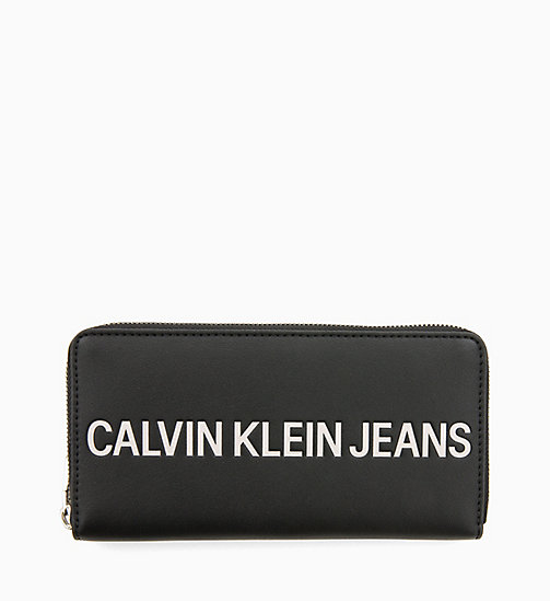 CALVIN KLEIN JEANS Large Logo Zip-Around Wallet - BLACK - CALVIN KLEIN JEANS LOGO SHOP - main image
