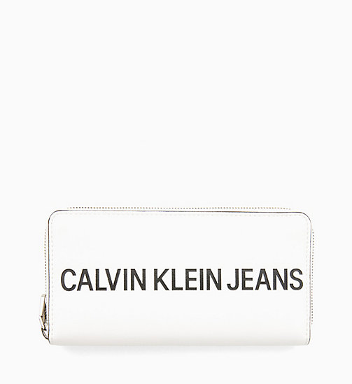 CALVIN KLEIN JEANS Large Logo Zip-Around Wallet - BRIGHT WHITE - CALVIN KLEIN JEANS LOGO SHOP - main image