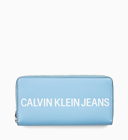 CALVIN KLEIN JEANS Large Logo Zip-Around Wallet - ALASKAN BLUE - CALVIN KLEIN JEANS LOGO SHOP - main image