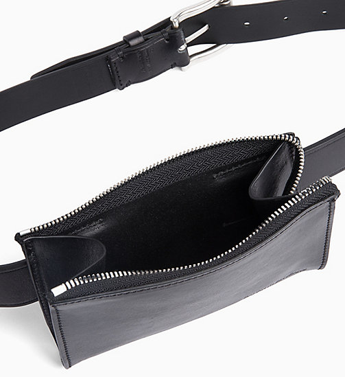CALVIN KLEIN JEANS Leather Pouch Belt - BLACK - CALVIN KLEIN JEANS NEW IN - detail image 1