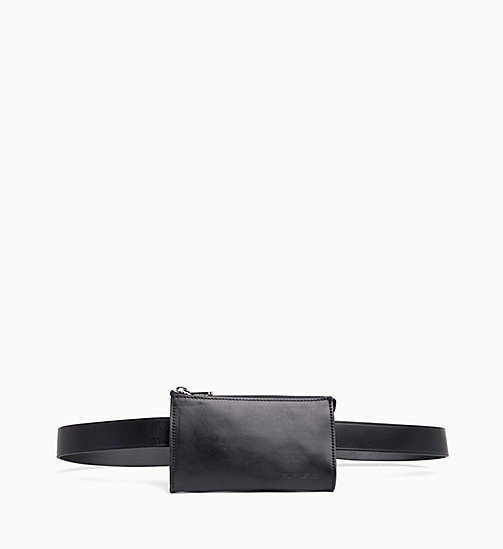 CALVIN KLEIN JEANS Leather Pouch Belt - BLACK - CALVIN KLEIN JEANS NEW IN - main image