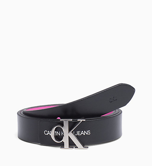 CALVIN KLEIN JEANS Reversible Leather Belt - BLACK/BEGONIA - CALVIN KLEIN JEANS LOGO SHOP - detail image 1