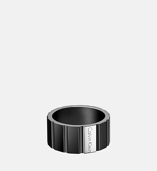 CALVINKLEIN Ring - Calvin Klein Plate - SST/BLACK - CALVIN KLEIN WATCHES & JEWELLERY - main image