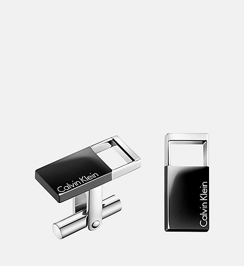 CALVIN KLEIN Cufflinks - Calvin Klein Hollow - SST/BLACK - CALVIN KLEIN MEN - main image