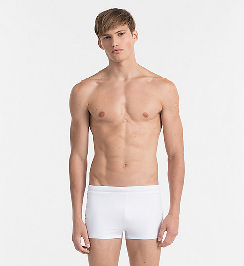 CALVINKLEIN Swim Trunks - Core Logo Tape - WHITE - CALVIN KLEIN SWIM TRUNKS - main image