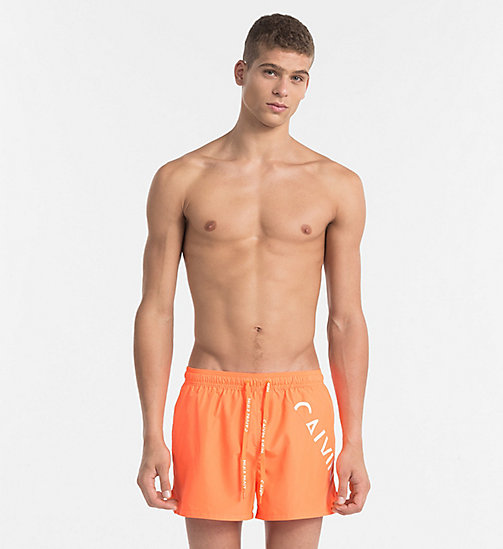 CALVINKLEIN Swim Shorts - Core Diagonal - 15-1460-ORANGE CLOWN FISH - CALVIN KLEIN SWIM SHORTS - main image