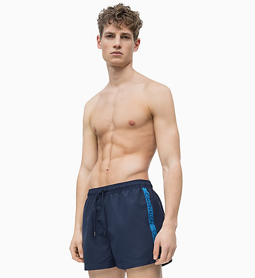 CALVIN KLEIN Swim Shorts - Core Logo Tape - BLUE SHADOW - CALVIN KLEIN SWIM SHORTS - main image