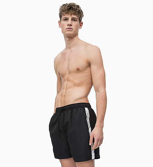 CALVIN KLEIN Swim Shorts - Core Logo Tape - BLACK - CALVIN KLEIN SWIM SHORTS - main image