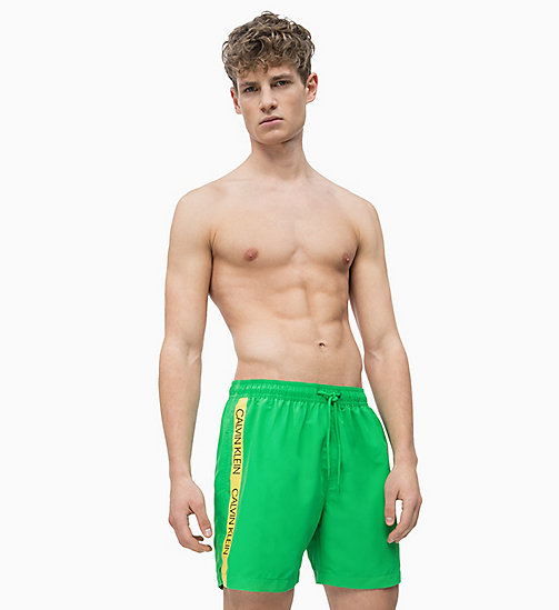 CALVIN KLEIN Swim Shorts - Core Logo Tape - BRIGHT GREEN - CALVIN KLEIN SWIM SHORTS - main image
